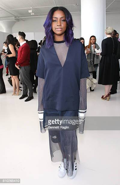 Music artist Justine Skye attends the SheaMoisture at Laquan Smith F/W 2016 NYFW at Jack Studios on February 14 2016 in New York City