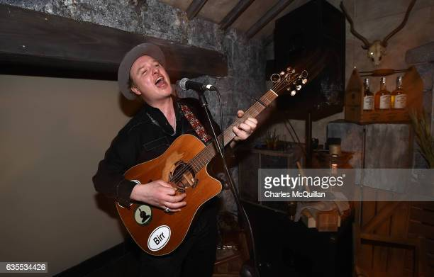 Music artist Mundy performs in the Irish Whiskey Museum as part of the Dublin Tech Summit on February 15 2017 in Dublin Ireland