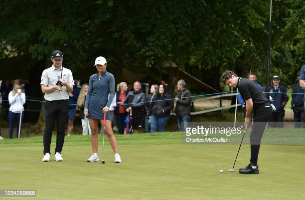 Music artist Niall Horan on the 9th during the Pro Am event at The ISPS HANDA World Invitational at on July 28, 2021 in Ballymena, United Kingdom.