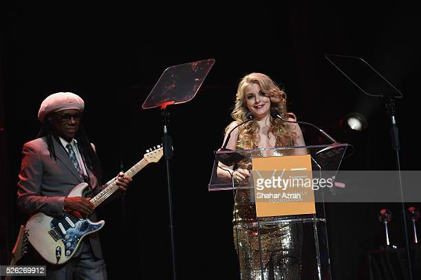 Music artist Nile Rodgers and Nancy Hunt attend We Are Family Foundation 2016 Celebration Gala on April 29, 2016 in New York, New York.