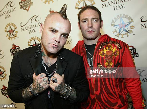 Music artist Shifty Shellshock and producer and manager David Weintraub arrive at the grand opening of Mario Barth's Starlight Tattoo at the House of...