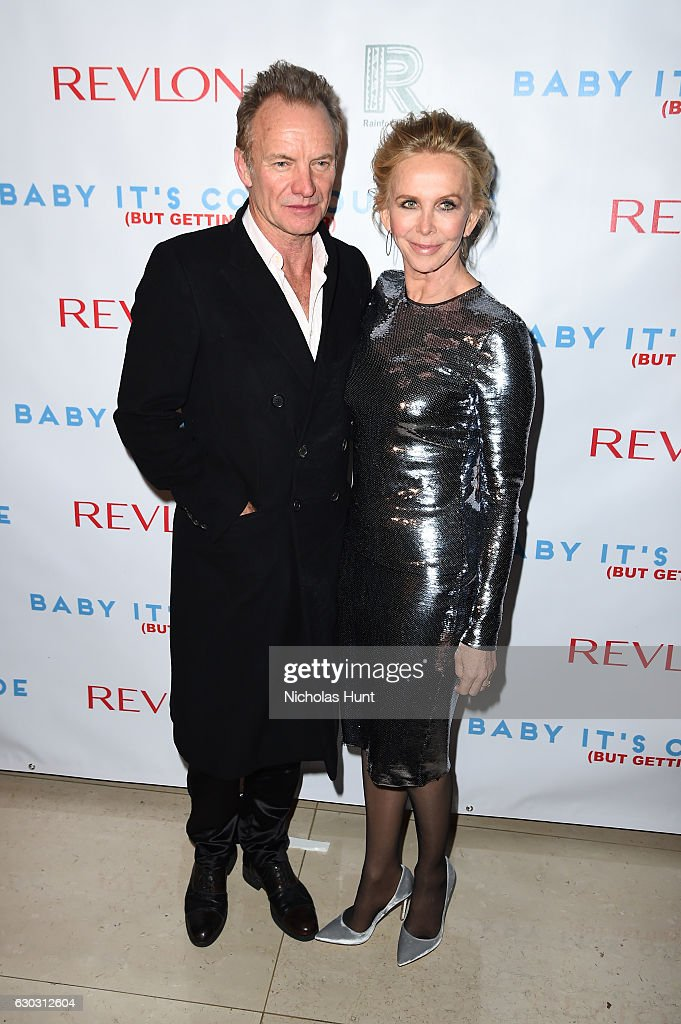 Music artist Sting and actress Trudie Styler attend 'Baby It's Cold Outside' - The 2016 Revlon Holiday Concert for The Rainforest Fund Gala at JW Marriott Essex House on December 14, 2016 in New York City.