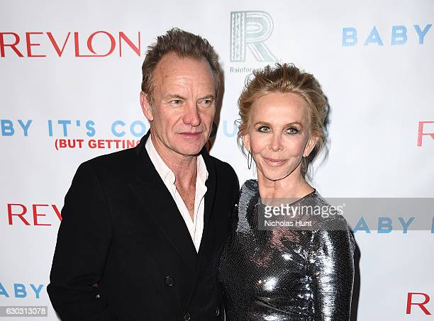 Music artist Sting and actress Trudie Styler attend 'Baby It's Cold Outside' The 2016 Revlon Holiday Concert for The Rainforest Fund Gala at JW...