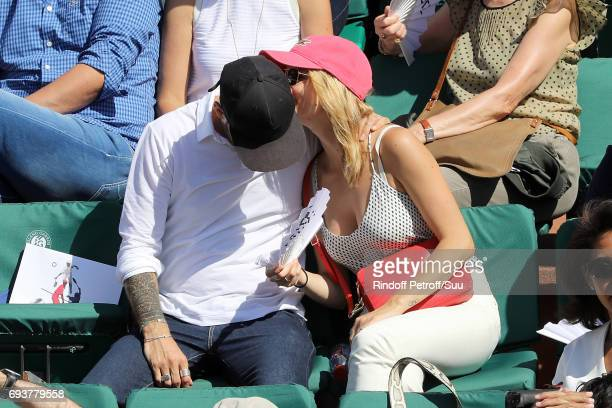 Music artist Sweem and actress Margot Bancilhon are spotted at Roland Garros on June 8 2017 in Paris France