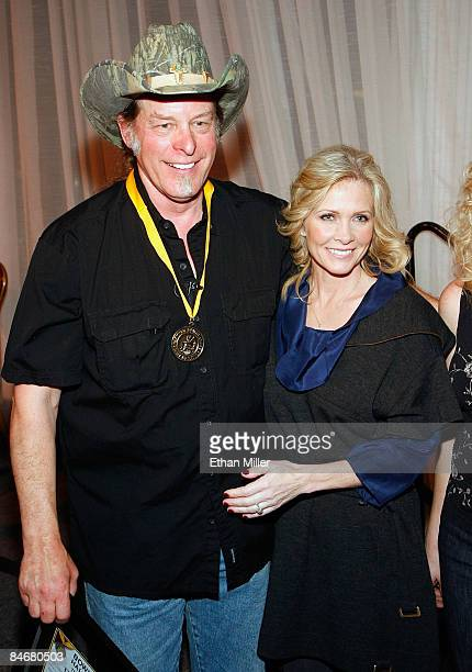 Music artist Ted Nugent and his wife Shemane Nugent appear after he was inducted into the National Bowhunters Hall of Fame during the National Field...