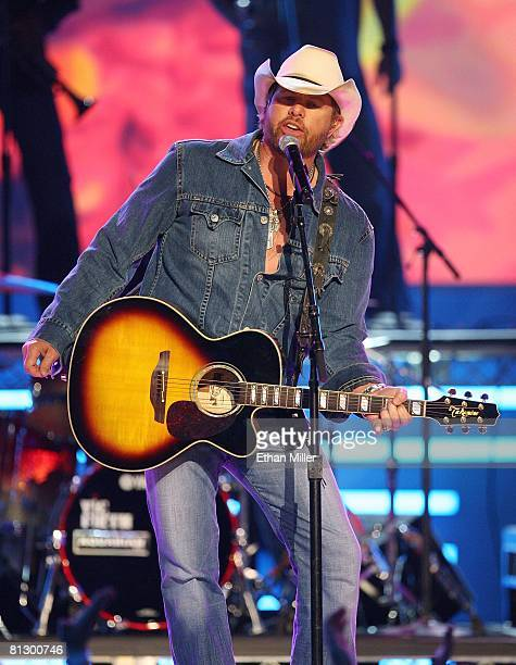 Music artist Toby Keith performs during the 43rd annual Academy of Country Music Awards at the MGM Grand Garden Arena May 18 2008 in Las Vegas Nevada