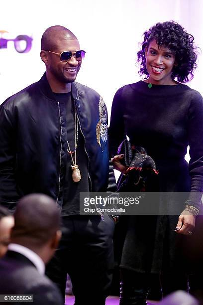 Music artist Usher arrives for the BET's 'Love and Happiness A Musical Experience in a tent on the South Lawn of the White House October 21 2016 in...