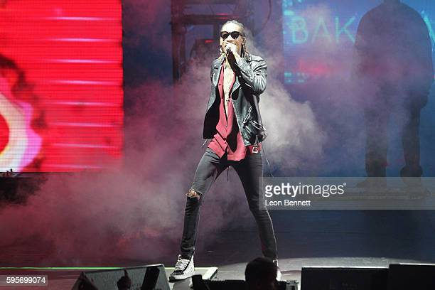 Music artist Wiz Khalifa performed at Wiz Khalifa And Snoop Dogg's High Road Summer Tour at Irvine Meadows Amphitheatre on August 25 2016 in Irvine...
