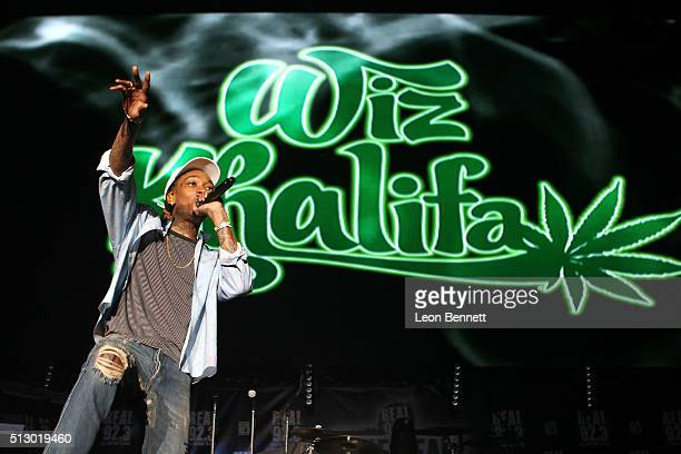 Music artist Wiz Khalifa performs during the The REAL 923 Birthday Bash at The Forum on February 28 2016 in Inglewood California