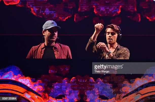 Music artists Alex Palland and Andrew Taggart of the band The Chainsmokers perform onstage during 1035 KTU's KTUphoria 2016 presented by Aruba at...