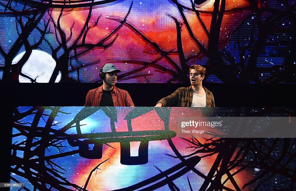 Music artists Alex Palland and Andrew Taggart of the band The Chainsmokers perform onstage during 103.5 KTU's KTUphoria 2016 presented by Aruba, at Nikon at Jones Beach Theater on June 4, 2016 in Wantagh, NY.