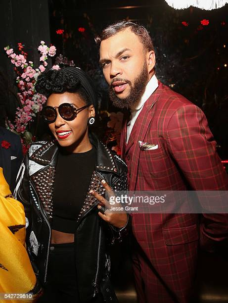 Music artists Janelle Monae and Jidenna attend Jidenna's Long Live The Chief Album Playback presented by Janelle Monae LA Reid at Blind Dragon on...