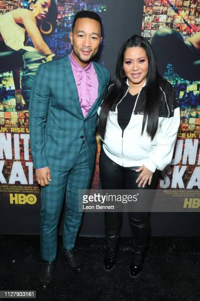 Music artists John Legend and Cheryl 'Salt' James attends Los Angeles Premiere Of HBO's Documentary Film United Skates Arrivals at Avalon Hollywood...