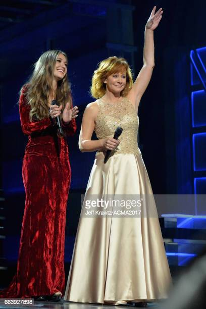 Music artists Lauren Daigle and Reba McEntire onstage at the 52nd Academy Of Country Music Awards at TMobile Arena on April 2 2017 in Las Vegas Nevada