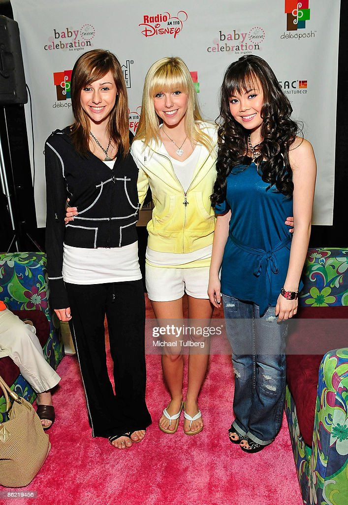 Music artists Mandy and Savvy Burhoe and actress Anna Maria Perez de Tagle arrive at the Baby & Tween Celebration trade show at the Los Angeles Convention Center on April 25, 2009 in Los Angeles, California.
