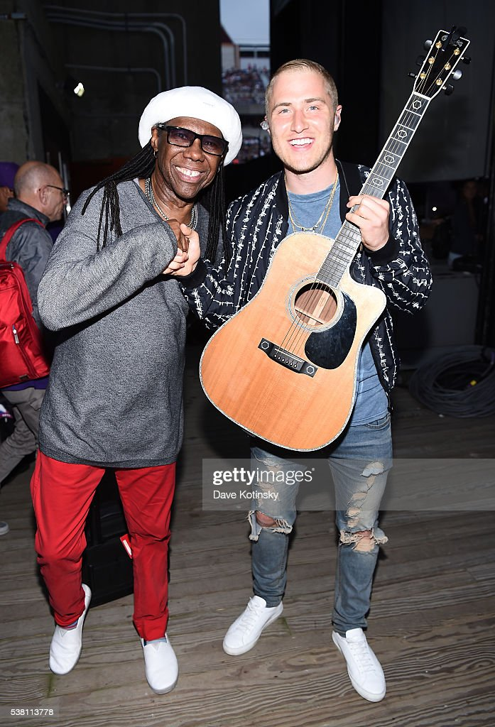 Music artists Nile Rodgers (L) and Mike Posner pose backstage during 103.5 KTU's KTUphoria 2016 presented by Aruba, at Nikon at Jones Beach Theater on June 4, 2016 in Wantagh, NY.