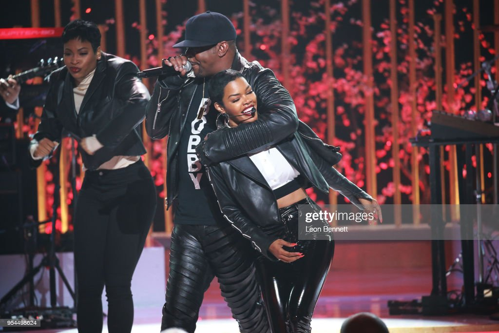 Music artists Teyana Taylor and Bobby Brown performs onstage during VH1's 3rd Annual 'Dear Mama: A Love Letter To Moms' - Inside Show at The Theatre at Ace Hotel on May 3, 2018 in Los Angeles, California.