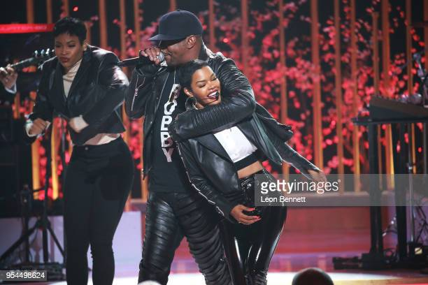 Music artists Teyana Taylor and Bobby Brown performs onstage during VH1's 3rd Annual Dear Mama A Love Letter To Moms Inside Show at The Theatre at...