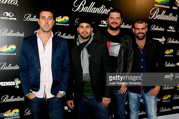 Music band Efecto Pasillo attends Candidates for 40 Principales Awards 2013 presentation at Teatro Kapital on October 9 2013 in Madrid Spain