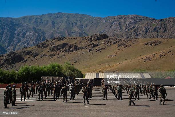 Music band of Indian army soldiers during their routine exercise on July 30 2015 in Drass 142 km east of Srinagar the summer capital of Indian...