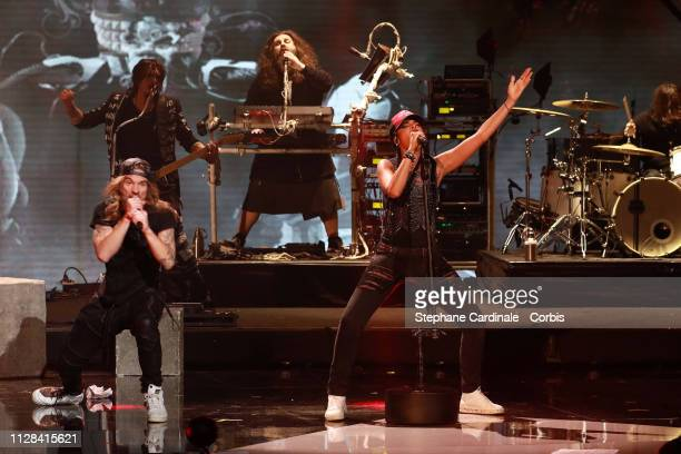 Music band Shaka Ponk perform during the 34th 'Les Victoires De La Musique' Show at La Seine Musicale on February 08 2019 in BoulogneBillancourt...