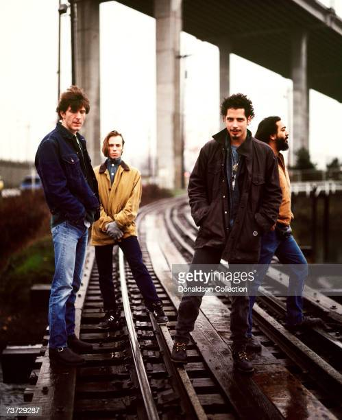 Music band Soundgarden members Chris Cornell Kim Thayil Matt Cameron and Ben Shepherd pose during a photo shoot held in 1997 in Seattle Washington