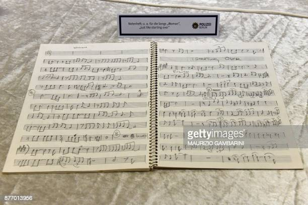 A music book from the estate of John Lennon is pictured during a press conference on November 21 2017 in Berlin German police on November 20 2017 had...