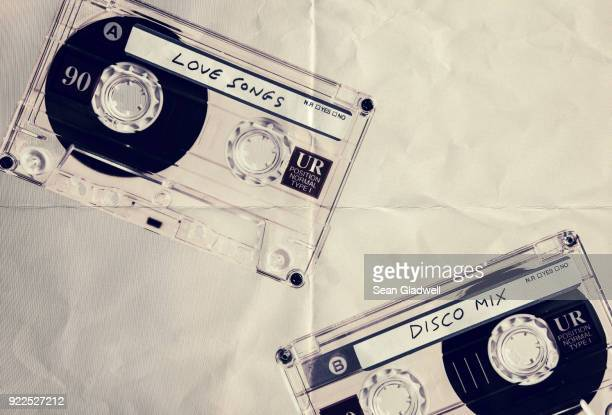 music cassettes paper backdrop - funky stock pictures, royalty-free photos & images