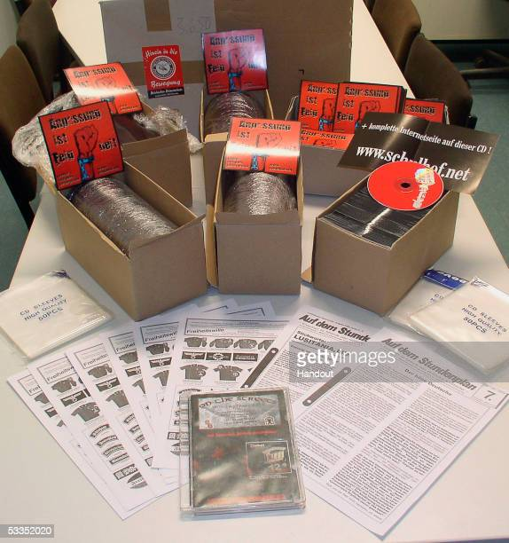 Music CDs with neoNazi inspired lyrics are pictured in this police handout picture on August 11 2005 in Frankfurt an der Oder in eastern Germany...