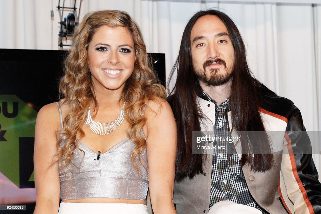 Music Choice host Clare Galterio and musician Steve Aoki visit Music Choice's 'You & A' on May 20, 2014 in New York, United States.