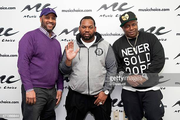 Music Choice vice president of Programming Damon Williams rapper Raekwon and Combat Jack attend a listening party for Raekwon's album 'Fly...