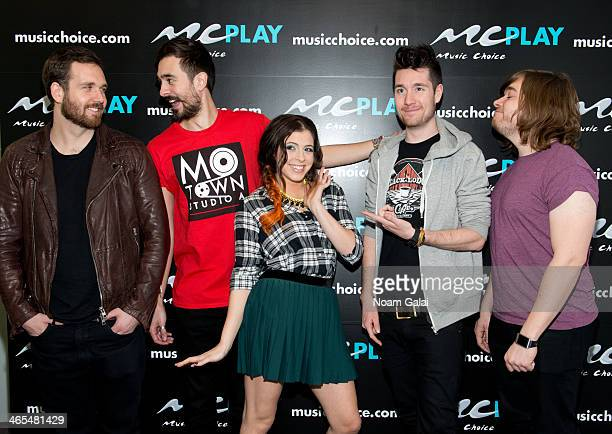 Music Choice 'You A' host Clare Galterio with musicians Will Farquarson Kyle Simmons Dan Smith and Chris Wood of band Bastille visit Music Choice on...