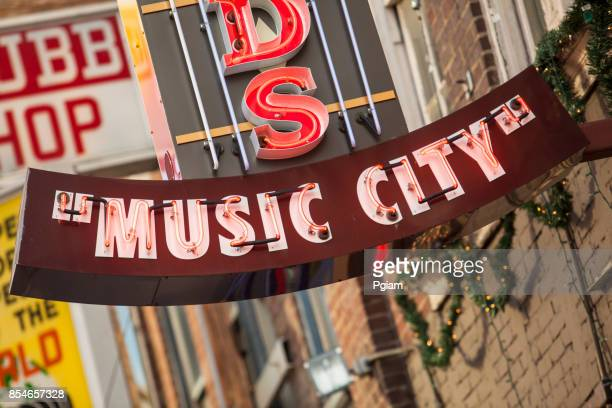 music city neon lights nashville, tennessee usa - tennessee stock pictures, royalty-free photos & images