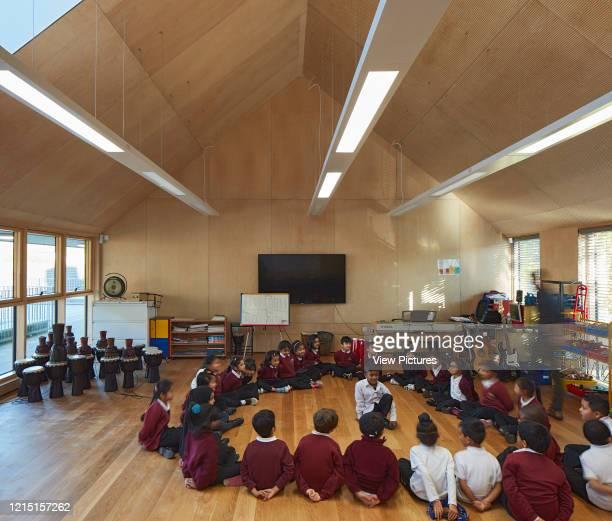 Music classroom on first floor. Sandringham Primary School, London, United Kingdom. Architect: Walters and Cohen Ltd, 2017..