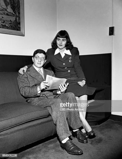 CBS music composer Bernard Herrmann and Lucille Fletcher pose for a photo She was formerly a librarian and clerk in the CBS music department which is...