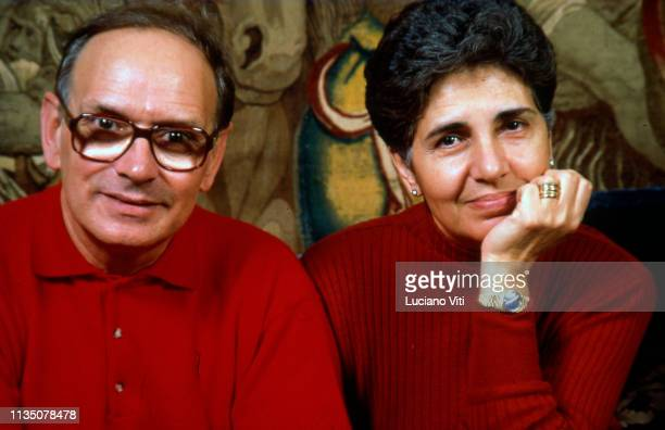 Music composer Ennio Morricone and his wife Maria Morricone Travia Rome Italy 1991