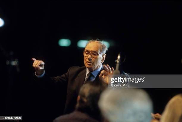 Music composer Ennio Morricone conducting during a benefit concert for earthquake victims in Abruzzo Olympic Stadium in Rome June 20 2009