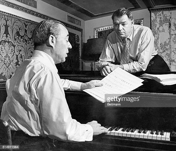 Music composer Richard Rodgers and lyricist Oscar Hammerstein II finish work on their latest production Me and Juliet