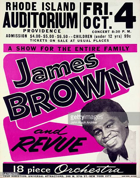 Music concert poster advertises live performance of singer James Brown and revue, 1963.