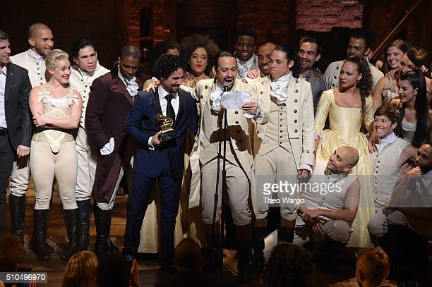"Music director Alex Lacamoire and Actor, composer Lin-Manuel Miranda celebrate on stage during ""Hamilton"" GRAMMY performance for The 58th GRAMMY..."