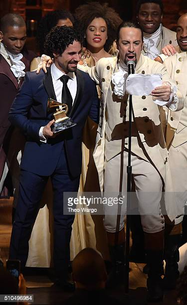Music director Alex Lacamoire and Actor composer LinManuel Miranda celebrate on stage during Hamilton GRAMMY performance for The 58th GRAMMY Awards...