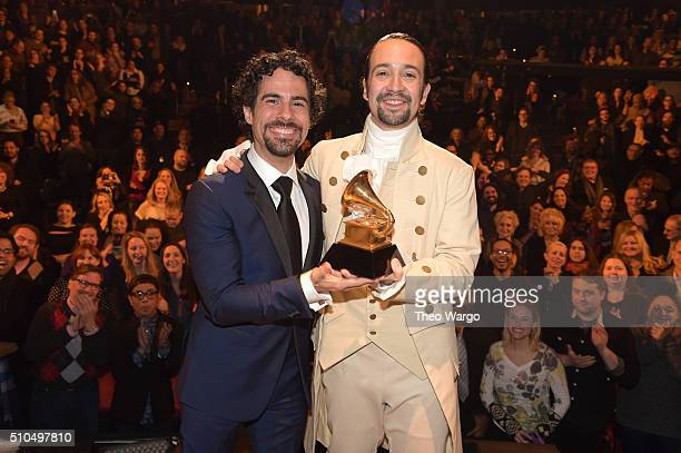 "Music director Alex Lacamoire and Actor, composer Lin-Manuel Miranda celebrate on stage the receiving of GRAMMY award after during ""Hamilton"" GRAMMY..."