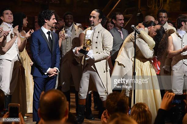 Music director Alex Lacamoire and actor composer LinManuel Miranda and cast of Hamilton celebrate on stage the receiving of GRAMMY award after...