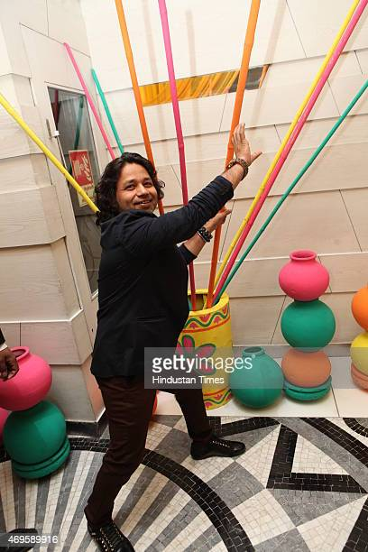 Music director and playback singer Kailash Kher during the Audio launch of upcoming film Nanak Shah Fakir at Le Meridien Hotel on April 7 2015 in New...