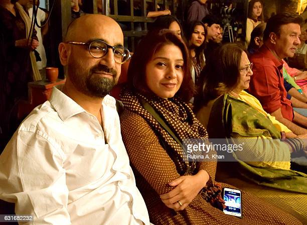 Music director Hitesh Sonik and his wife singer Sunidhi Chauhan at JashneKaifi an evening of music and poetry celebrating the legendary Urdu poet...