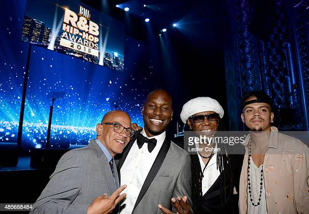 Music director Rickey Minor recording artist Tyrese honoree Nile Rodgers and actor Evan Ross attend the 2015 BMI RB/HipHop Awards at Saban Theatre on...