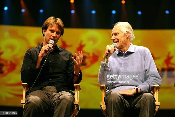 Music directors Giles Martin and Sir George Martin speak at the media viewing of The Beatles 'Love' by Cirque du Soleil at The Mirage in Las Vegas on...