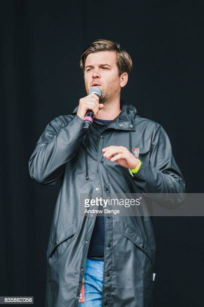Music DJ Tom Ravenscroft introduces acts on the Mountain stage during day 4 at Green Man Festival at Brecon Beacons on August 20, 2017 in Brecon,...