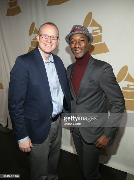 Music Educator Award recipient Keith Hancock and singer Aloe Blacc attend the annual GRAMMY In The Schools Live – A Celebration of Music Education...