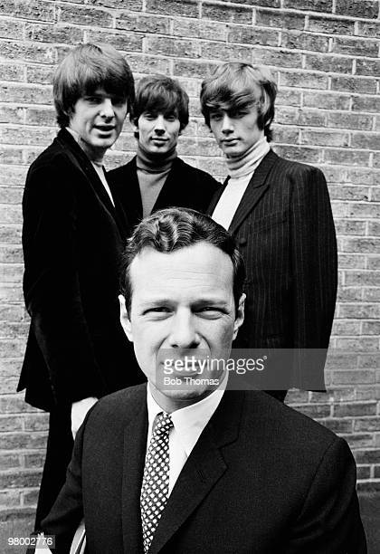 Music entrepreneur Brian Epstein with the group Paddy Klaus and Gibson at Granada Television Studios in Manchester circa 1964 Full names Klaus...